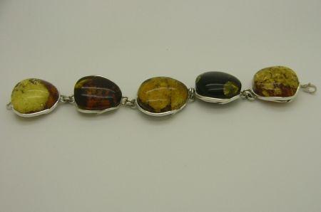 SAL1 - Genuine Amber Sterling Silver Bracelet