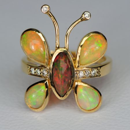 Butterfly Opal Gold Ring