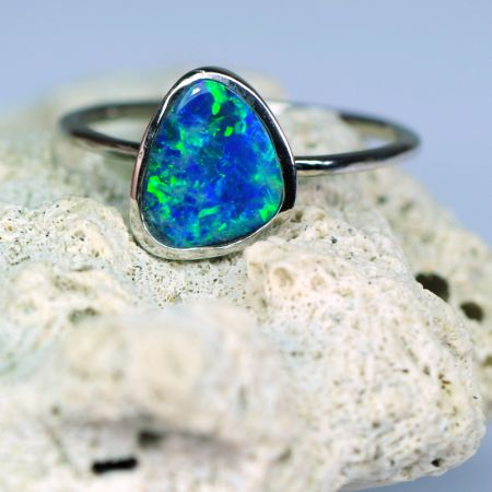 Opal Stacking Silver Ring